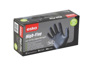 HIGH FIVE' Disposable H/Duty BLACK Nitrile gloves, P/F Small - Esko