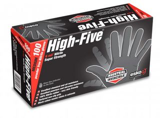 HIGH FIVE' Disposable H/Duty BLACK Nitrile gloves, P/F Large - Esko