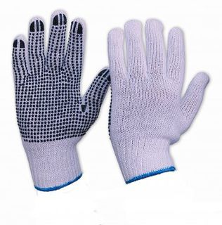 Knitted poly/cotton glove, White with PVC dots XLarge - Esko