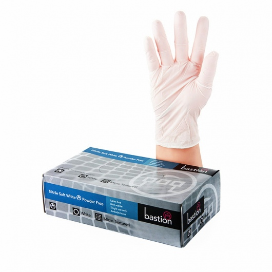 Bastion Nitrile Soft White P/F Gloves Small - UniPak