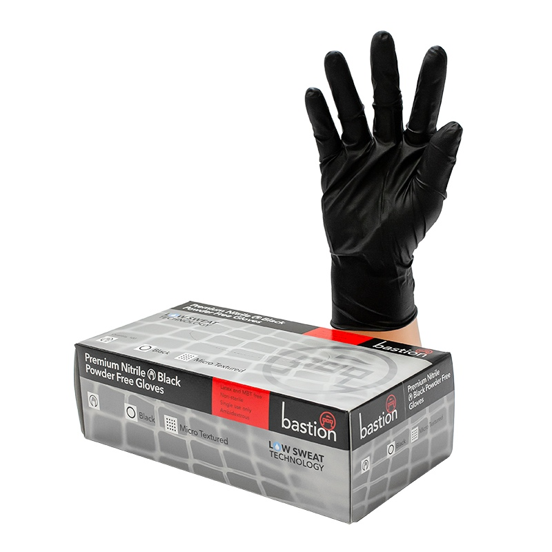 Nitrile Black P/F Gloves Premium Medium Pack 100 - UniPak