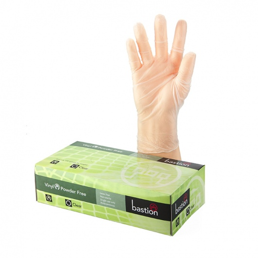 Bastion Vinyl P/F Clear Gloves Large - UniPak