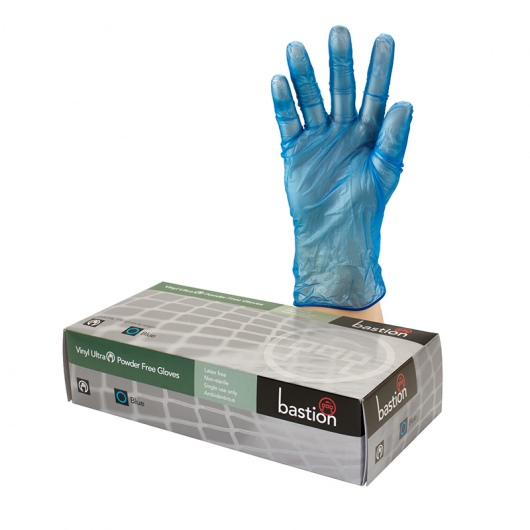 Bastion Vinyl Ultra P/F Blue Gloves - UniPak