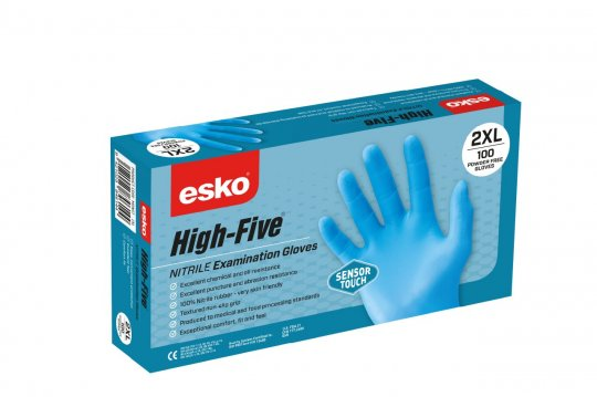 HIGH FIVE Sensortouch Light Blue Disposable Nitrile Glove Medium - Esko