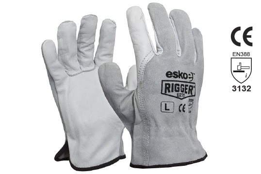 The Esko Rigger', Premium Cow Grain Palm with Suede Back Large - Esko