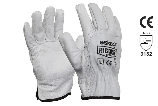 The Esko Rigger', Premium Natural Cow grain rigger gloves, XL - Esko