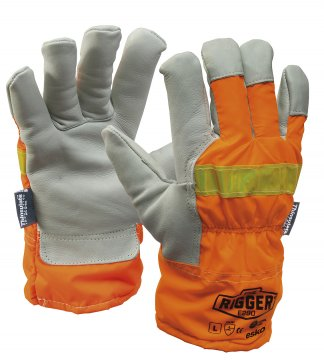 REFLECTOR Rigger Glove woth Orange Reflective back & Thinsulate lining Large - Esko