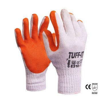 TUFF-IT' Knitted poly/cotton glove, Red latex dip Size 8 - Esko