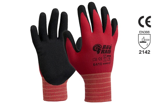 RED RAM' Black sandy Latex with Red Polyamide Liner Size 11 - Esko