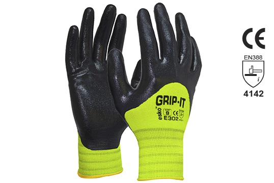 GRIP-IT' Black nitrile 3/4 dip coating with Hi-vis nylon liner Size 10 - Esko