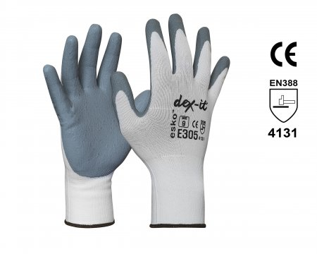 DEX-IT' Grey Nitrile Foam palm coated with white nylon liner Size 10 - Esko