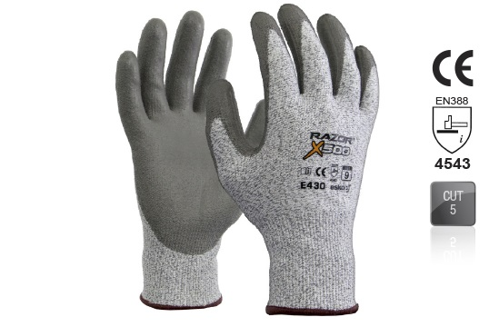 RAZOR-X 500 PU coated Cut Resistant Level 5 Glove Size 10 - Esko